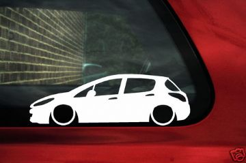 2x LOW Peugeot 308 5 door HDI ,1.6 Turbo, outline silhouette stickers / Decals (1)